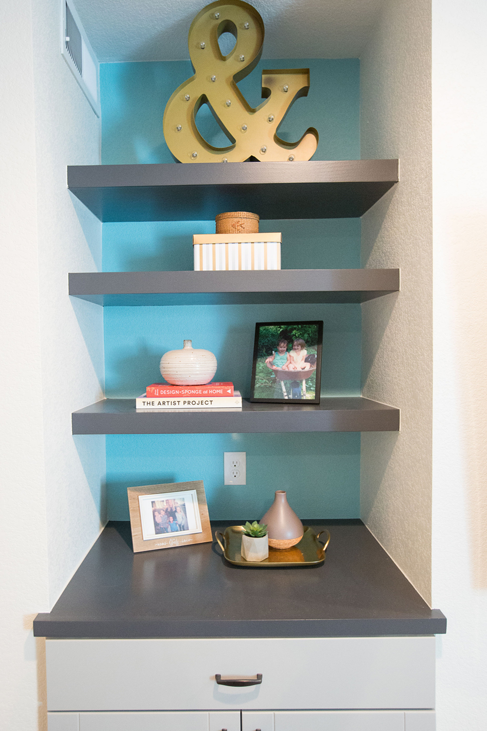 Georgeson Style basement design shelves