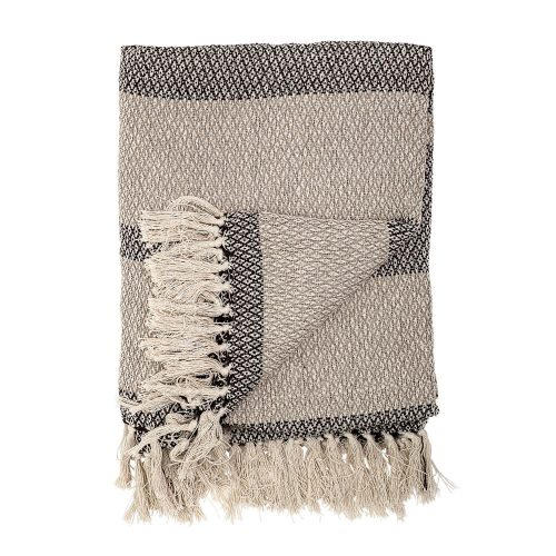 Recycled Cotton Blend Knit Throw with Fringe