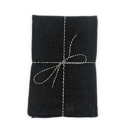 Kyndred Linen Tea Towel Black