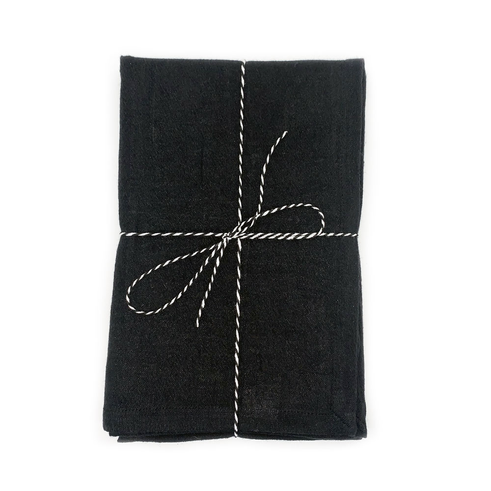 Kyndred Linen Tea Towel Black