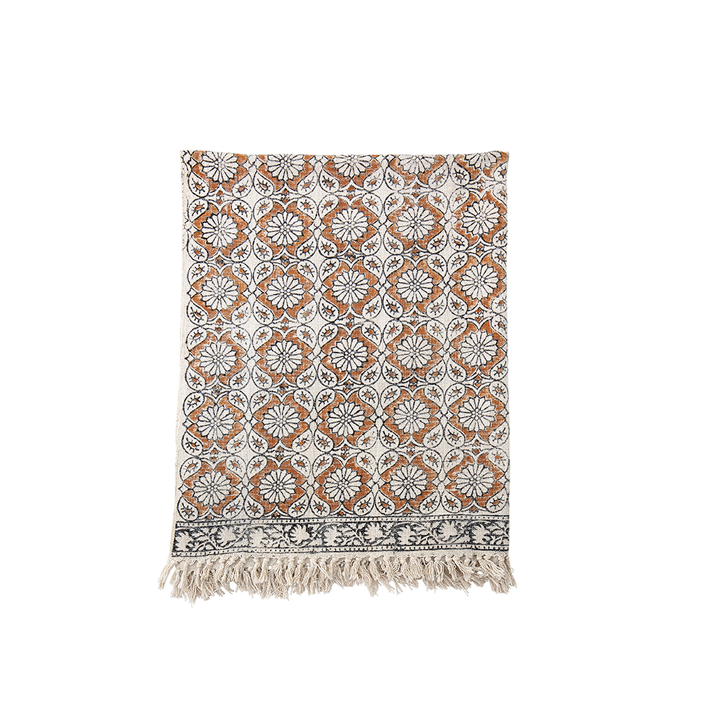 Coton Printed Throw with Fringe