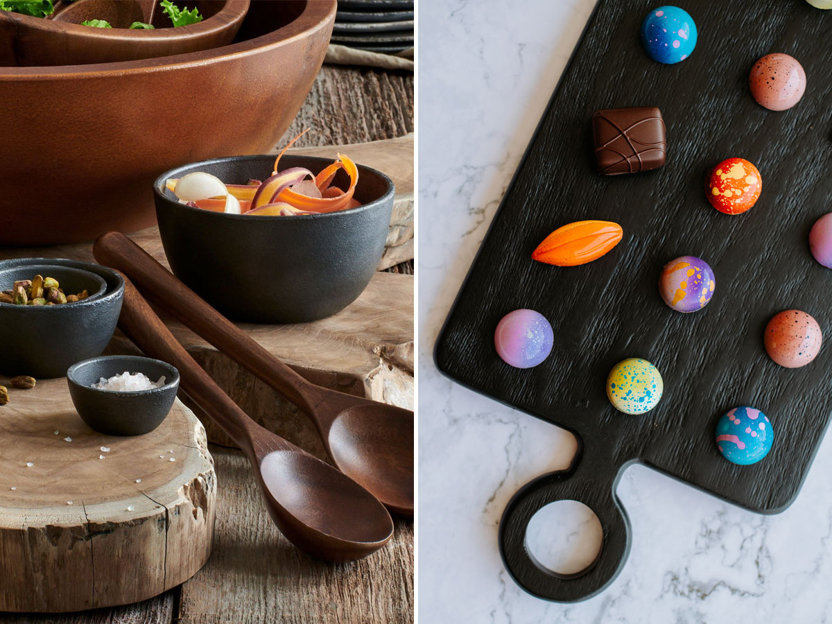 Kyndred Shop: blackened cast iron bowls + mango wood serving board