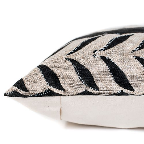 pillow cover: black and cream leaves