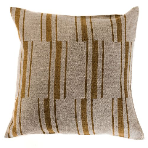 pillow cover: mustard and cream stripes